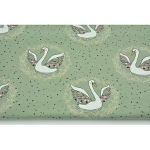 Jersey in a pattern of swans on a sage background