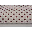 Cotton 100% bordeaux dots 5mm on a white background