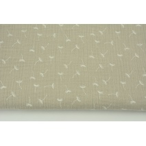 Double gauze 100% cotton small puffballs on a chilly beige background