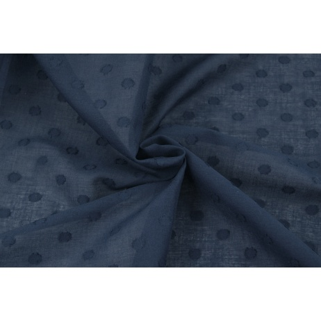 Cotton 100%, plumeti with dots, navy