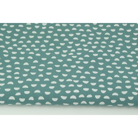 Cotton 100% small white semicircles on a dark azure background PREMIUM
