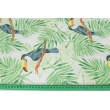 Cotton 100% toucans, green palm leaves on a white background