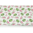 Cotton 100% pink and green watermelons on a white background PREMIUM