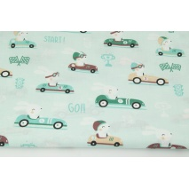 Cotton 100% moto-rabbits on a mint background (2)