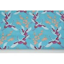Bawełna 100% żurawie na turkusowym tle PREMIUM