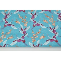 Cotton 100% cranes on a turquoise background PREMIUM