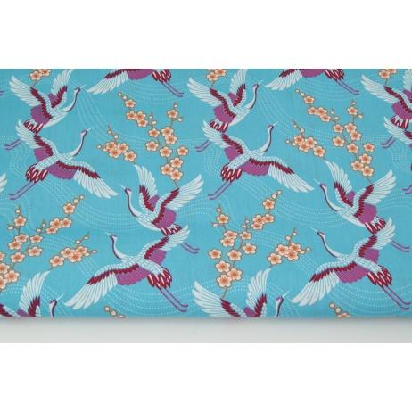 Cotton 100% cranes on a turquoise background PREMIUM