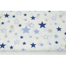 Bawełna 100% mix, gwiazdki beżowo-granatowo-niebieskie
