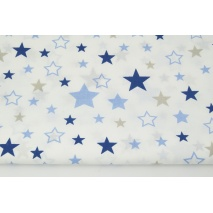 Cotton 100% mix, stars beige-navy-blue