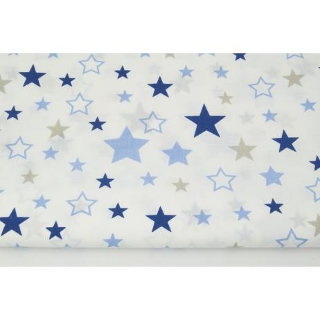 Cotton 100% mix, stars beige-navy-blue