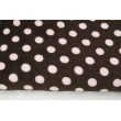 Polar fleece double sided pink dots on a brown background