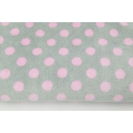 Polar fleece double sided pink dots on a light gray background