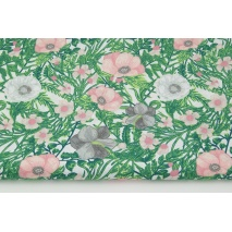 Cotton 100% pink, gray poppy flowers on a white background