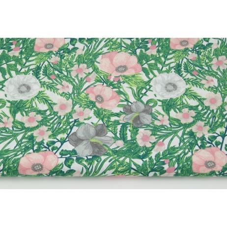 Bawełna 100% różowe, szare maki na białym tle