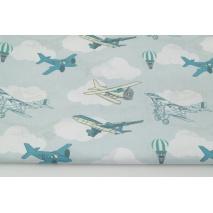 Bawełna 100% turkusowe, żółte samoloty na miętowo-błękitnym tle