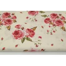 Bawełna 100% czerwone angielskie róże na kremowym tle