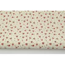 Bawełna 100% małe czerwone różyczki na kremowym tle