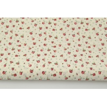 Cotton 100% small red roses on a cream background