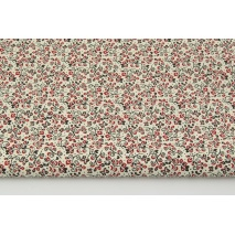 Cotton 100% floral ornament bordeaux-black on a cream background