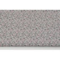 Bawełna 100% kwiatowy ornament różowo-czarny na jasnoszarym tle