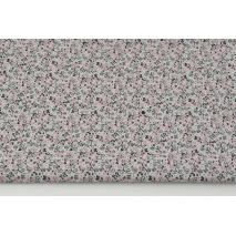 Cotton 100% floral ornament pink-black on a light gray background