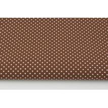 Bawełna 100%, kropki białe 2mm na rudym brązie