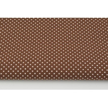 Cotton 100%, white polka dots 2mm on a ginger brown background