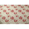 Cotton 100% red english roses on a cream background