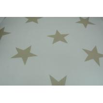 Bawełna 100% biała w duże, beżowe gwiazdy 155 cm