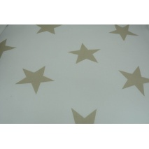 Cotton 100% big beige stars on a white background 155 cm