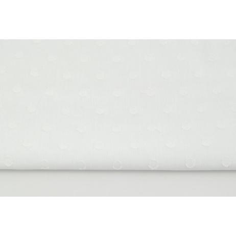 Bawełna 100%, plumeti kropki, biała