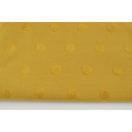 Knitted fabric with fluffy dots, mustard