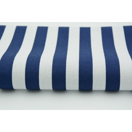 Cotton 100% navy stripes 15mm