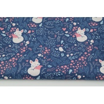 Cotton 100% sleeping foxes on a navy background