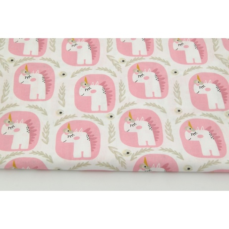 Cotton 100% fairytale unicorns in pink bubbles