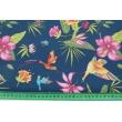 Bawełna 100% kolorowe kolibry, kwiaty na granatowym tle
