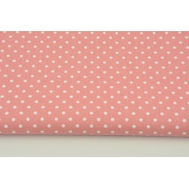 Cotton 100% dots 4mm on a dark coral pink background