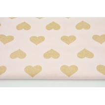 Looped knitwear golden hearts on a light pink background