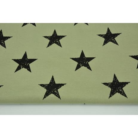 Dzianina, dresówka w czarne gwiazdy na oliwkowej zieleni