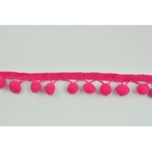 Fuchsia ribbon 13mm pom poms (double threat)