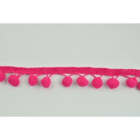 Fuchsia ribbon 13mm pom poms (double threat)