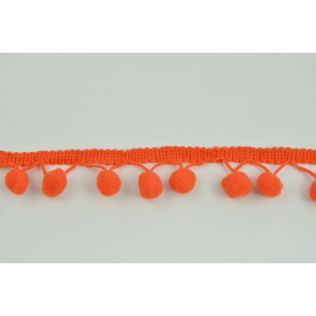 Dark orange ribbon 13mm pom poms (double threat)