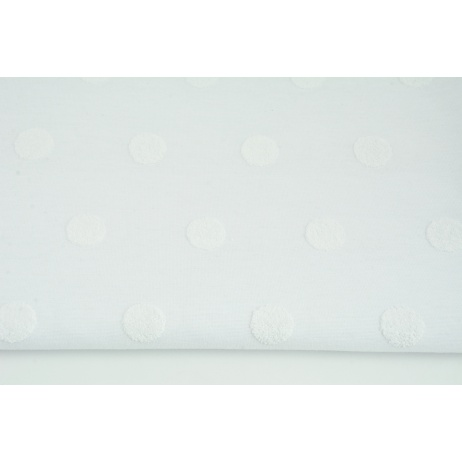 Knitted fabric with fluffy dots, white