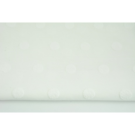 Knitted fabric with fluffy dots, ecru