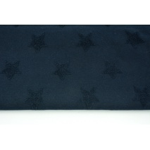 Knitted fabric with fluffy stars, dark navy