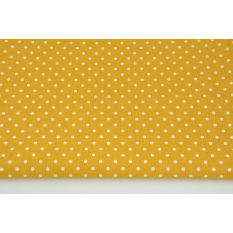 Cotton 100% dots 4mm on a toffee background