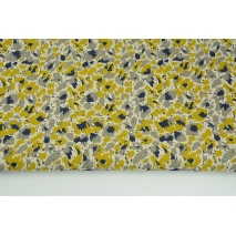 Decorative fabric, painted yellow-gray spots on a linen background 187g/m2