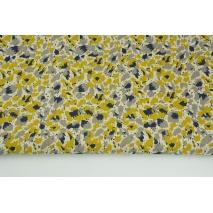 Tkanina dekoracyjna, malowane plamki żółto-szare na lnianym tle 187g/m2