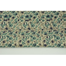 Decorative fabric, painted emerald-gray spots on a linen background 187g/m2