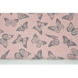 Looped knitwear butterflies on a quartz pink background